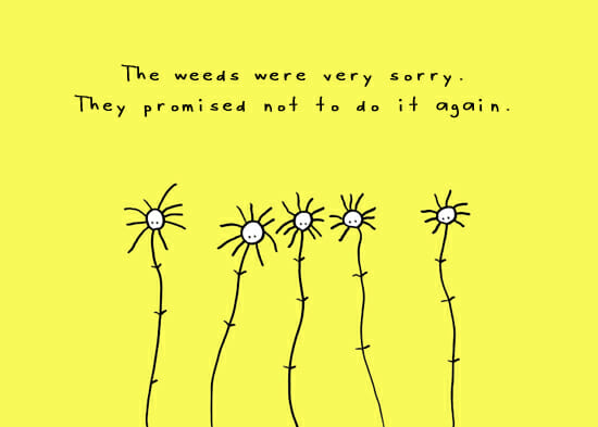 garden cartoon on weeds