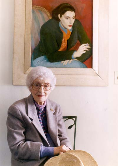 11/25/1992  --  York, ME  --  May Sarton, poet at home with portrait of her when she was 25 years old.   BGLSCAN