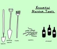 garden cartoon of essential tools