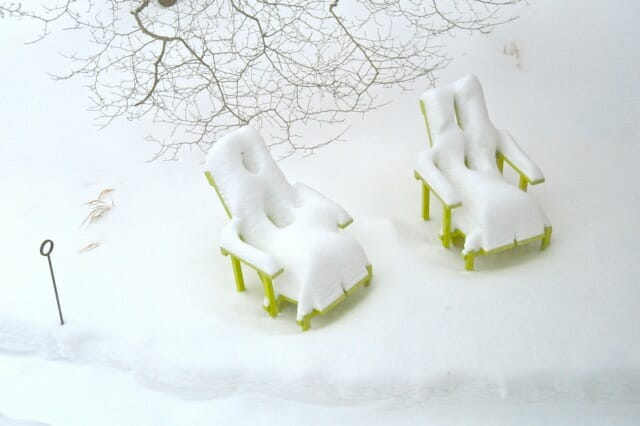 wave hill chairs in snow