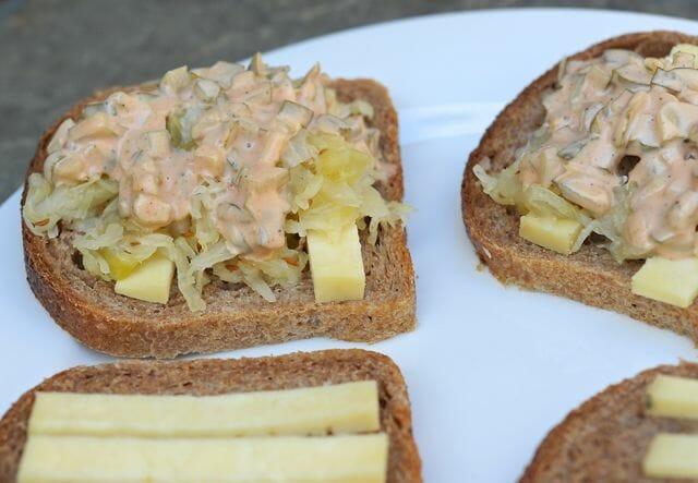 preparing the vegetarian Reuben sandwiches
