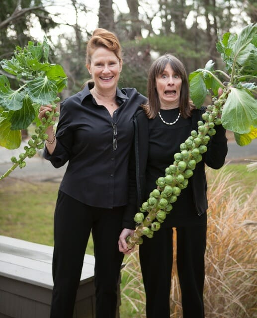 Marion Roach Smith and Margaret Roach with homegrown Brussels sprouts