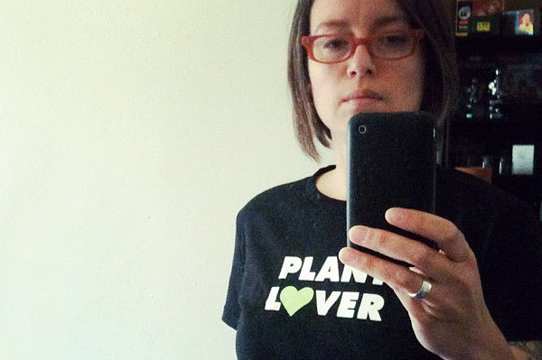 Gayla Trail in her Plant Lover t-shirt