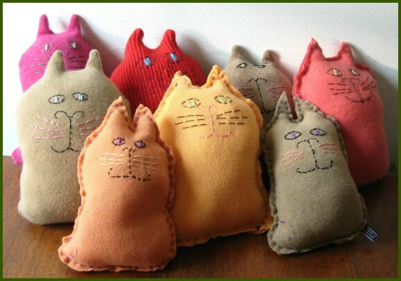 Cashmere upcycled cats by Jane Capellaro on Etsy