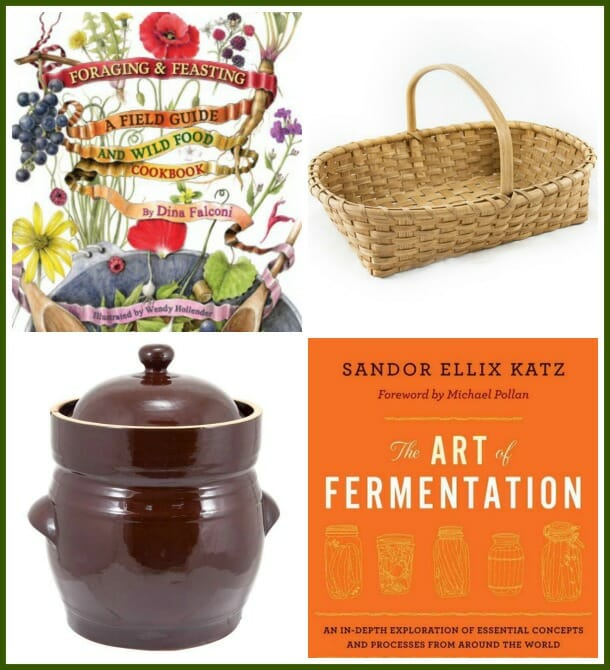 Foraging and Feasting book, tomato basket, fermenting crock, The Art of Fermentation book