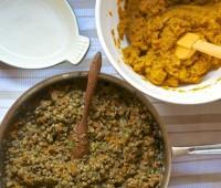 lentil mushroom sweet potato shepherd's pie prep