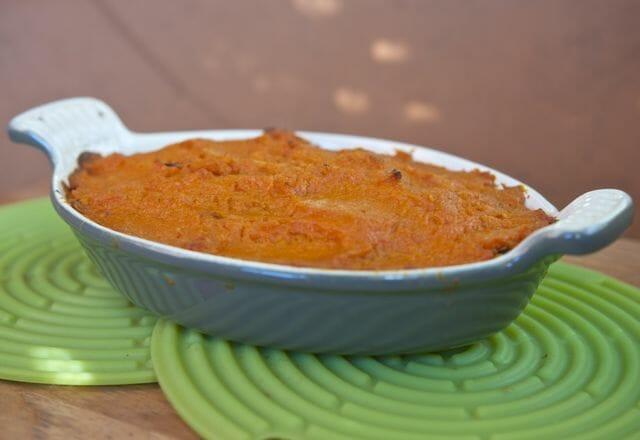 Lentil mushroom sweet potato shepherd's pie