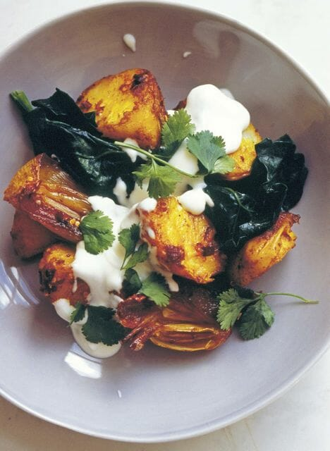 potatoes with spices & spinach by jonathan lovekin