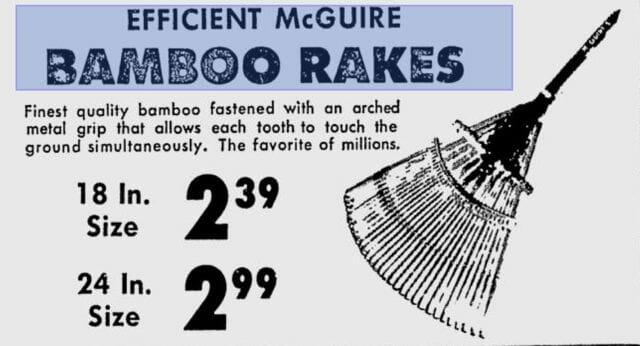 vintage bamboo rake ad
